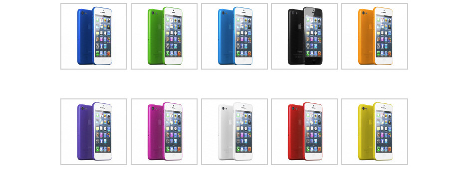 10 couleurs possibles pour l'iPhone Low Cost